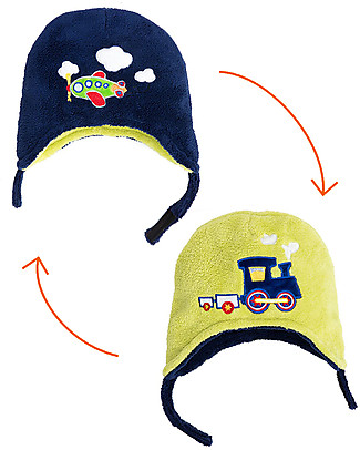 FlapJackKids Cappello Reversibile in Pile - Treno+Aeroplano - Anti-UV SPF 50+ Cappelli Invernali