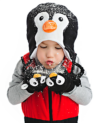 FlapJackKids Guanti-Pupazzo Pinguino In Caldissimo Pile, 2-6 anni Cappelli Invernali