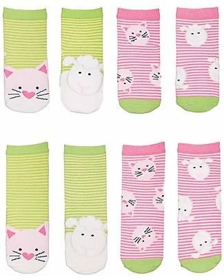 FlapJackKids Set 4 Pack of Socks, Cat and Lamb - Green/Pink Socks