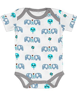 Fresk Body Manica Corta Elefante, Azzurro – 100% cotone bio Body Manica Corta