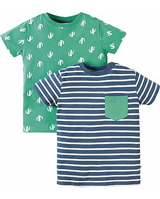 Frugi 2 Pack T-Shirt Tresco, Cactus - 100% cotone bio T-Shirt e Canotte