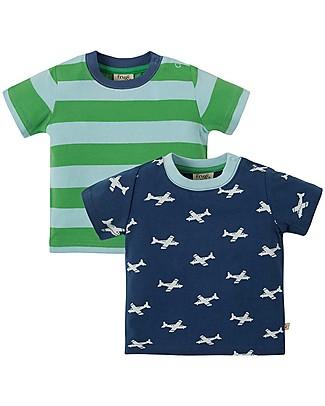 Frugi 2 Pack T-Shirt Tresco, Take Off Multipack (4+ anni) - 100% cotone bio T-Shirt e Canotte