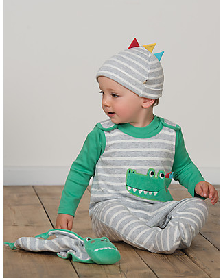 Frugi 3-pieces Snuggle Baby Gift Set: Dungarees, Top, Hat - Crocodile - Organic Cotton Long Sleeves Bodies