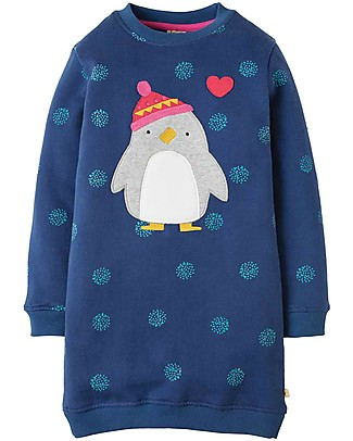 Frugi Abito Felpato Eloise, Fiocchi di Neve/Pinguino - felpa di cotone bio Vestiti