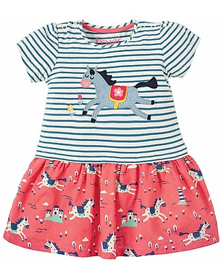Frugi Abito Manica Corta Little Laura Dress - Lyonesse Legend/Horse - 100% Cotone Bio Vestiti