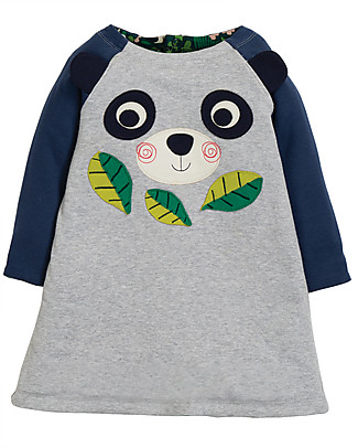 Frugi Abito Reversibile in Felpa Peek A Boo, Floral/Panda - Cotone bio Vestiti