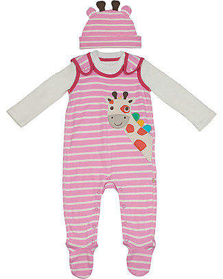 Frugi Baby Gift Set 3 pezzi: Salopette, Maglia e Cappellino - Giraffa - Cotone Bio Body Manica Lunga