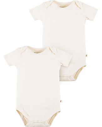 Frugi Body Bianco Naturale Maniche Corte, Pacco da 2 - 100% cotone bio Body Manica Corta