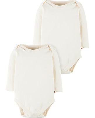 Frugi Body Bianco Naturale Maniche Lunghe, Pacco da 2 - 100% cotone bio Body Manica Lunga