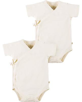 Frugi Body Kimono a Maniche Corte, Pacco da 2, Bianco - 100% cotone bio Body Manica Corta