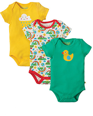 Frugi Body Manica Corta, Pacco da 3, Happy Days - 100% cotone bio Body Manica Corta