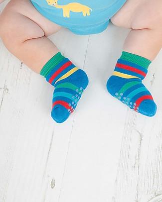 Frugi Calzini Antiscivolo Baby, Arcobaleno - Pacco da 2 - Perfetti per i primi passi! Calzini