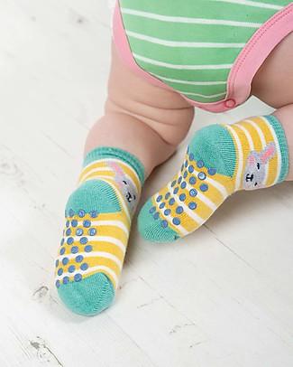 Frugi Calzini Antiscivolo Baby, Bunny Multipack - Pacco da 2 - Perfetti per i primi passi! Calzini