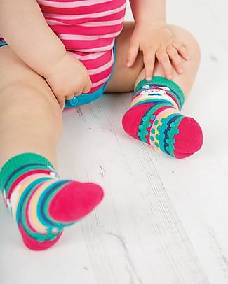 Frugi Calzini Antiscivolo Baby, Coniglietto - Pacco da 2 - Perfetti per i primi passi! Calzini