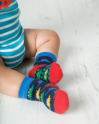 Frugi Calzini Antiscivolo Baby, Dinosauri - Pacco da 2 - Perfetti per i primi passi! Calzini