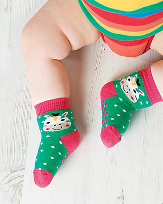 Frugi Calzini Antiscivolo Baby, Zebra - Pacco da 2 - Perfetti per i primi passi! Calzini