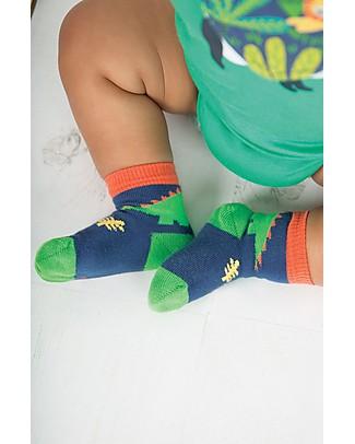 Frugi Calzini Little Socks, Pacco da 3 - Dino - Cotone Elasticizzato Calzini