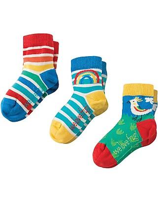 Frugi Calzini Little Socks, Pacco da 3 - Uccelli - Cotone Elasticizzato Calzini