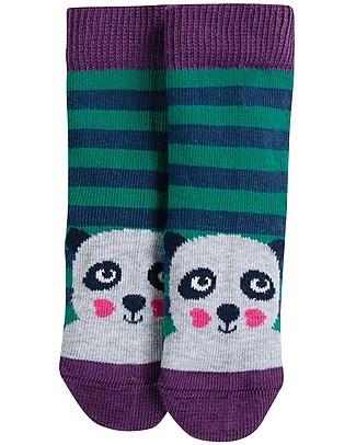 Frugi Calzini Perfect Little Socks (0-4 anni), Panda/Righe - Cotone Bio Elasticizzato Calzini