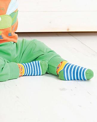 Frugi Calzini Perfect Little Socks (0-4 anni) - Sail Blue Stripe/Snail - Cotone Bio Elasticizzato Calzini