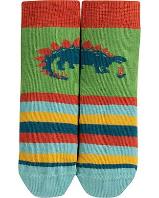Frugi Calzini Perfect Little Socks, Dinosauro/Prato - Cotone Bio Elasticizzato Calzini