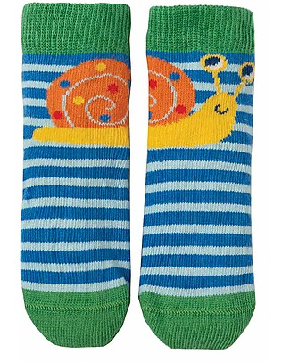 Frugi Calzini Perfect Little Socks - Sail Blue Stripe/Snail - Cotone Elasticizzato Calzini