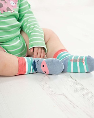 Frugi Calzini Perfect Little Socks - St Agnes Stripe/Pony - Cotone Elasticizzato Calzini