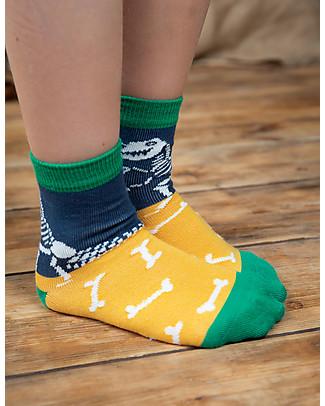 Frugi Calzini Rock My Socks (2-10 anni), Pacco da 3 - Dinosauri - Cotone Bio Elasticizzato Calzini