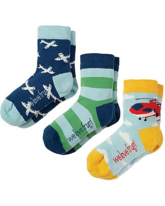 Frugi Calzini Rock My Socks, Pacco da 3 - Aeroplani - Cotone Elasticizzato Calzini