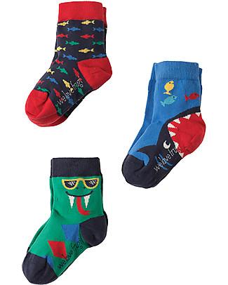 Frugi Calzini Rock My Socks, Pacco da 3 - Serpente Calzini