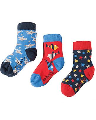 Frugi Calzini Rock My Socks, Pacco da 3 - Squali Calzini
