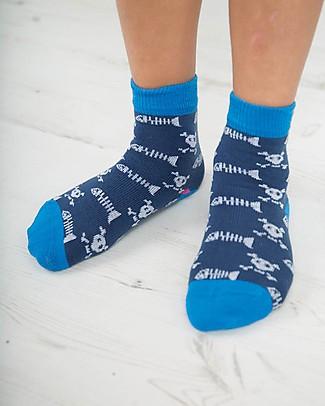Frugi Calzini Rock My Socks, Pacco da 3 - Squali - Cotone Elasticizzato Calzini