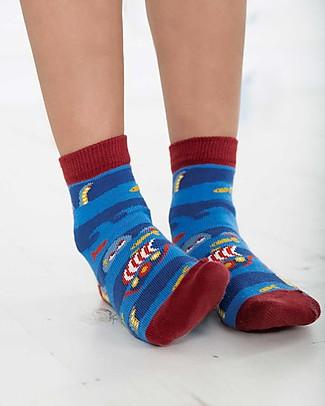 Frugi Calzini Rock My Socks, Pacco da 3 - Tricheco - Cotone Elasticizzato Calzini