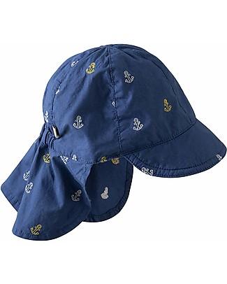 """Frugi Cappellino """"Legionario"""" Marine Blue Anchors - 100% Cotone Bio Cappelli"""