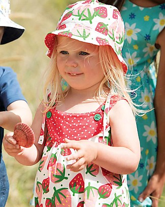 Frugi Cappello Ditsy Reversibile, Scilly Strawberries - 100% Cotone Bio Cappelli