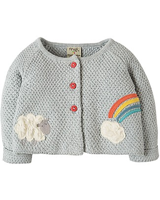 Frugi Cardigan Cute as a Button, Grigio/Agnello - 100% cotone bio Cardigan