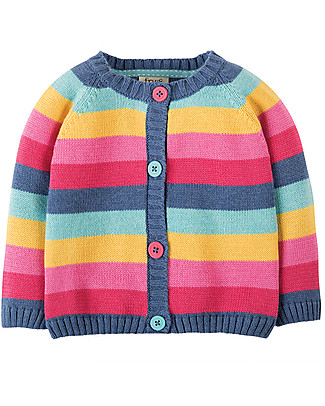 Frugi Cardigan Little Happy Day, Arcobaleno Rosa - 100% cotone bio Cardigan