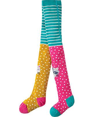 Frugi Collant Fun Knee con Simpatico Animaletto - Cotone Bio (morbidi, caldi e non pizzicano!) Calze