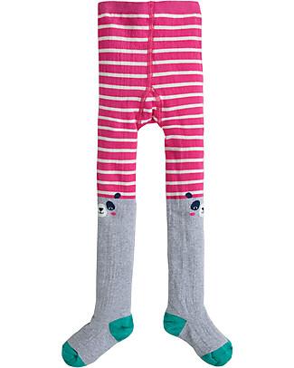 Frugi Collant Fun Knee, Panda/Righe Rosa - Cotone Bio (morbidi, caldi e non pizzicano!) Calze