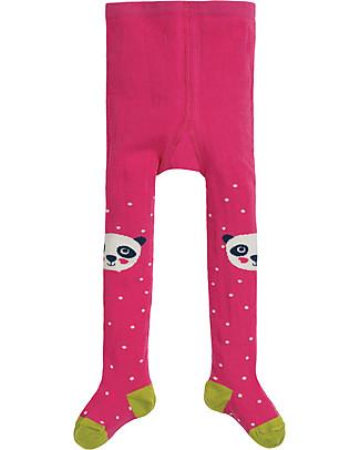 Frugi Collant Little Fun Knee, Panda/Rosa - Cotone Bio (morbidi, caldi e non pizzicano!) Calze