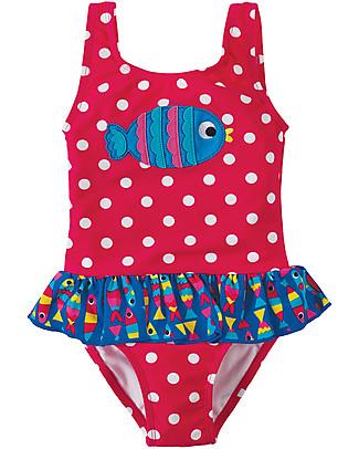Frugi Costume Bimba Little Sally, Lampone con Pesciolino - Protezione solare UPF 50+! Costumi Interi