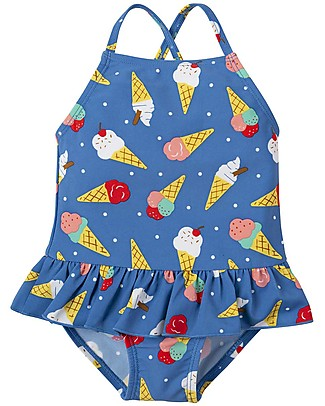 Frugi Costume da Bagno Intero Little Coral, Ice Cream Dream - UV 50+ Costumi Interi