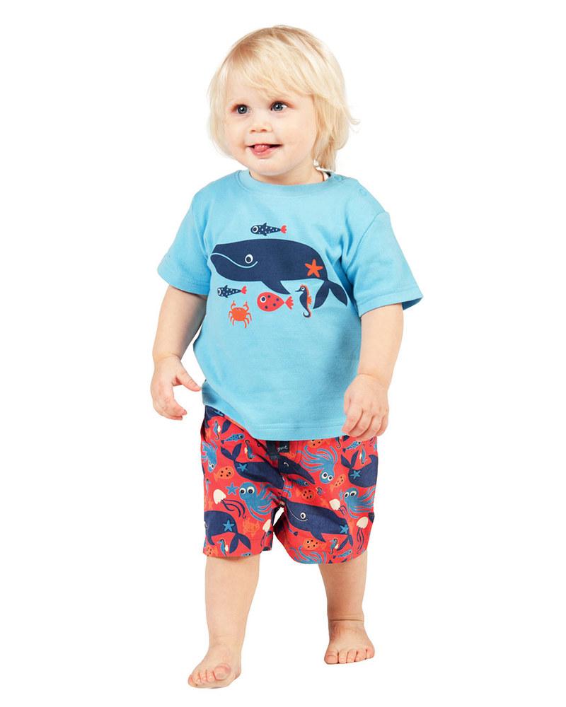 frugi costume da bagno pantaloncini rossi animali del mare 100 cotone bio costumi a