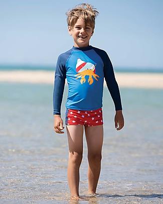 Frugi Costume da Bagno Tide, Pantaloncini Rossi e Stelle - UV 50+ Costumi a Pantaloncino