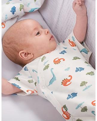 Frugi Cuddly Body Kimono, Pacco da 2 - Dinosauri & Righe - 100% Cotone bio Body Manica Corta