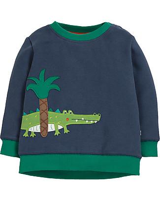 Frugi Felpa a Girocollo Jump About, Blu/Crocodillo - Cotone Bio Felpe