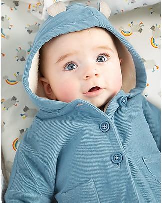 Frugi Giacca Bear Cub, Blu - Velluto imbottito di Cotone Bio Cappotti