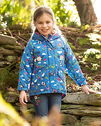 Frugi Giacca Impermeabile Imbottita Explorer, Sail Blue Fly High - 100% Materiale Riciclato! Giacche