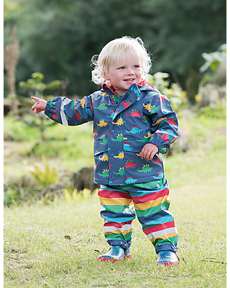 Frugi Giacca Impermeabile Puddle Buster, Dinosauri - 100% materiale riciclato Giacche