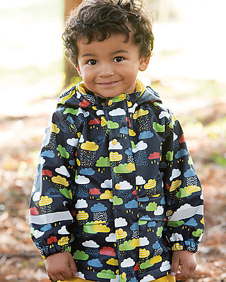 Frugi Giacca Impermeabile Puddle Buster, Nuvolette - Cuciture Saldate, 100% Waterproof! Giacche